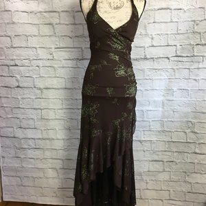 Taboo Dress Brown & Green Glitter Flowers Size S